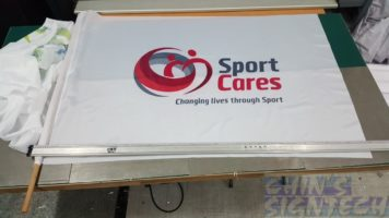 Dye Sublimation on Sport Cares - 1.5 x 1m Polyester Flag