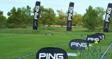 Rectangle flags and Small Pop Out A frame Banners at outdoor Golf course