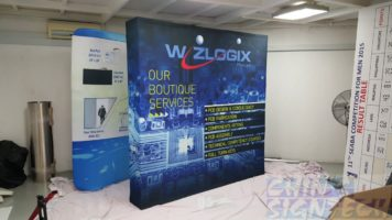 2.25 x 2.25m Fabric Pop Up Display for Wizlogix Trade show with electronic design