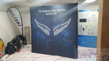 2.25 x 2.25m Fabric Pop up display with ANgel wings graphic