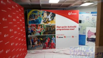3.25 x 2.25m Fabric Pop Up display for ActiveSG