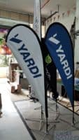 2.2m teardrop banner - Yardi - blue and white