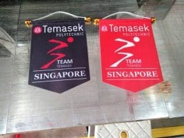 Custom podium banner for Temasek team