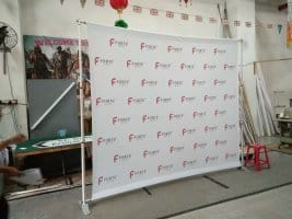 Fabric banner on Telesopic backdrop