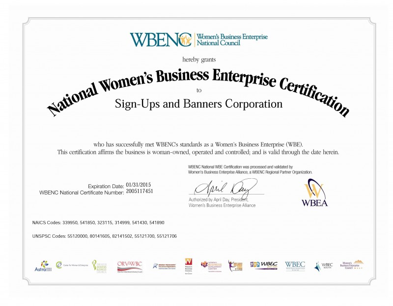 Sign-Ups is Certified by the WBEA