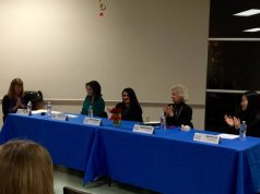 Women in Media Panel. Millennials in Media. (l. to r., moderator Molly Dugan, panelists Pamela Wu, Melanie Mason, Sigrid Bathen, Elyssa Lee) Winter 2015.