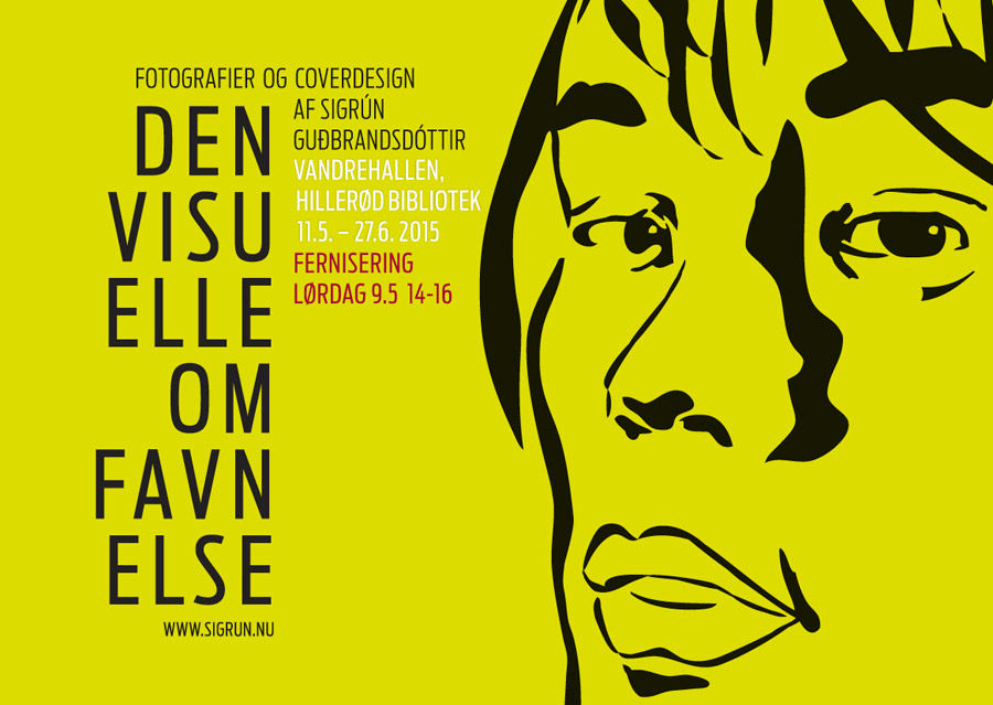 plakat med illustration for udstilling Den Visuelle Omfavnelse, Sigrun Gudbrandsdottir