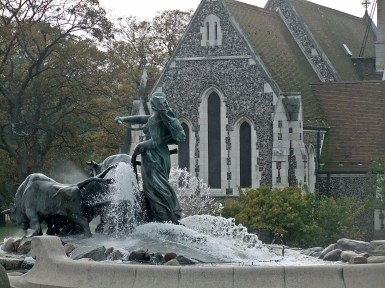 The Gefion fountain. It is the largest monument in Copenhagen and also used as a wishing well
