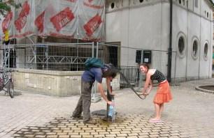 Having fun filling our water