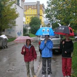 Walking in the rain, Sarajevo, Bosnia