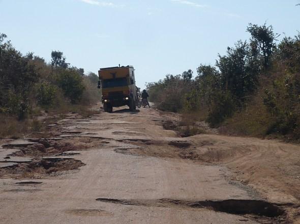 mortar potholes , Angola