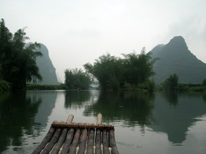 The rafts were each only ten bamboo poles wide and tied tightly together with rough rope.