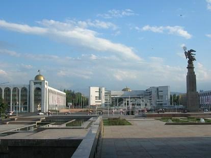Bishkek, Kyrgyzstan. backpacks and bra straps.