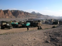The sounds of loud airbrakes and engines woke us early. This settlement was like a truckers' purgatory with nothing around but dust and huge trucks carrying scrap metal across the border.