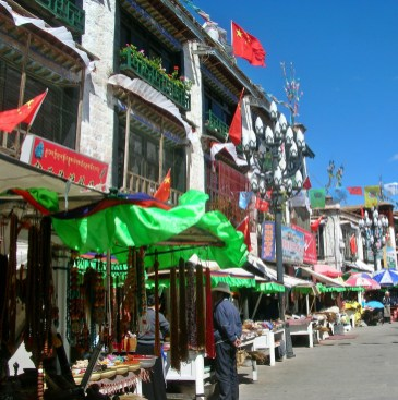street shopping in Tibet. Bacipacks and Bra Straps