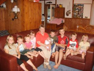 Mary Anne with grandkids