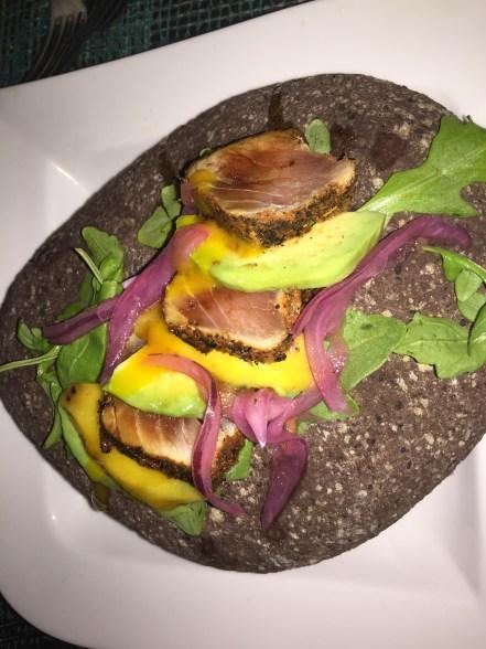 Tuna served on a stone at the Mango Restaurant