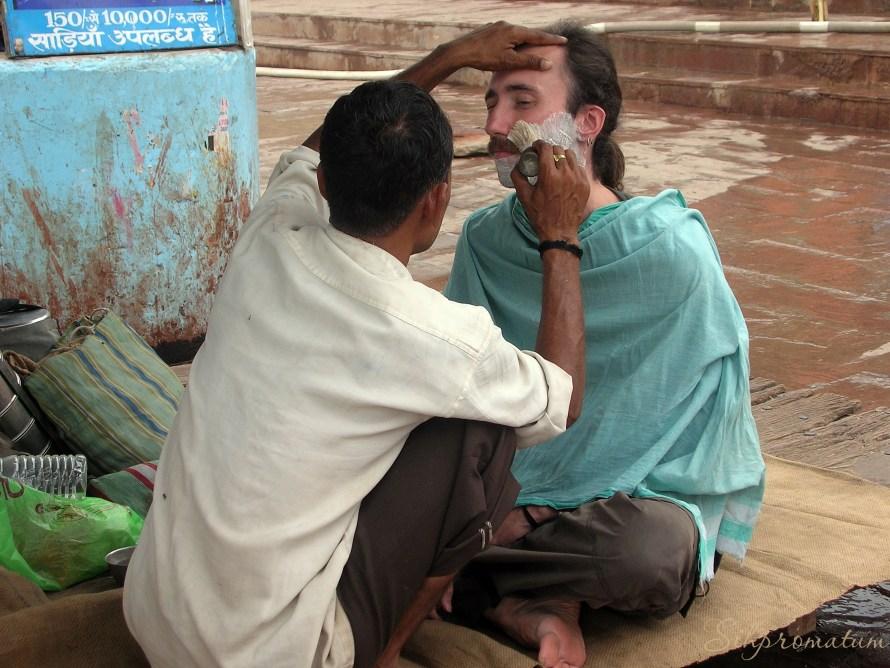 Shaving in Varanasi