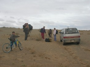 """""""We left the van there in the desert after loading our gear onto the backs of Chewy and the horse."""" - Gobi Desert"""