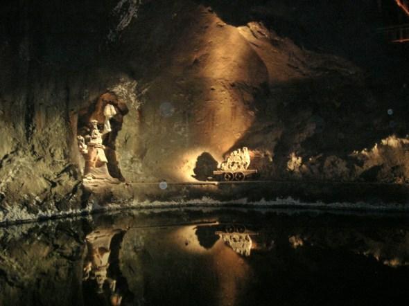 Salt lake deep in the mine