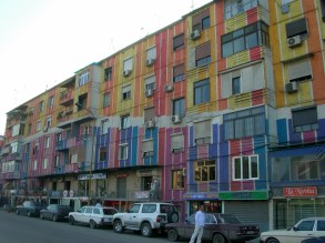 Very colourful apartments in Tirana, Albania