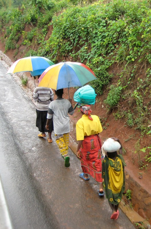 Ladies with umbrellas in Burundi