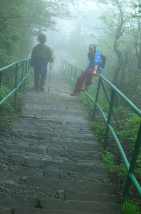 """""""Another million and a half stairs extending endlessly on into the fog."""" - Emei Shan"""