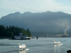 Float planes taking off from Vancouver BC