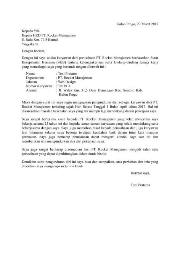 12 Contoh Surat Pengunduran Diri Resign Bagus Dan Halus