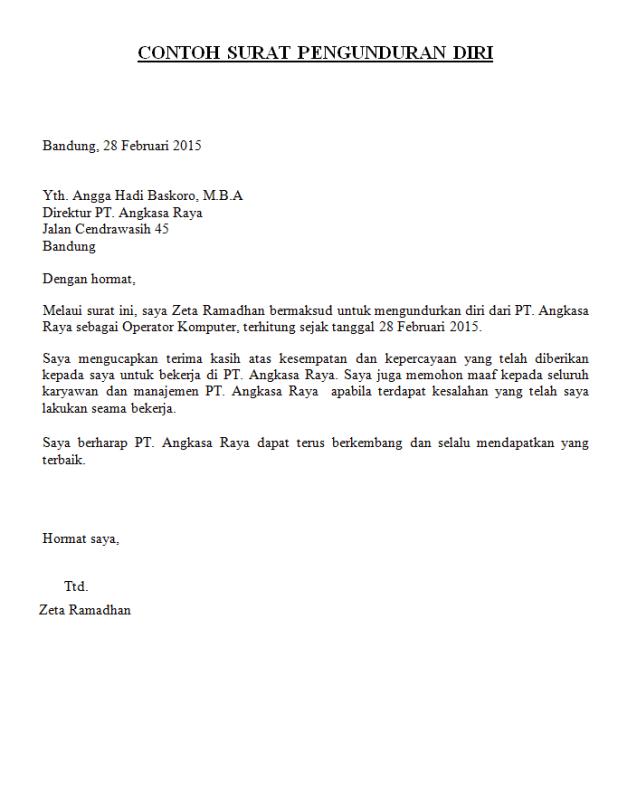 Contoh surat resign perusahaan