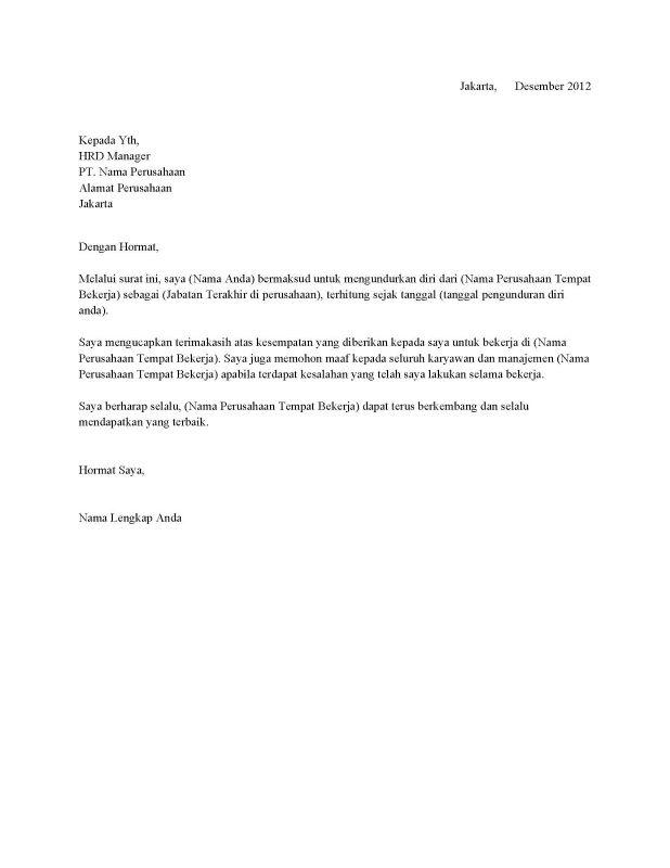 Contoh surat resignsimple
