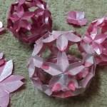 桜の折り紙|立体折り紙桜玉の作り方