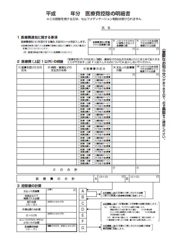 医療費控除の明細書③