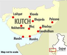 The map shows concentration of Punjabi farmers in Kutch.