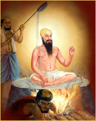 Guru Arjan Devi ji was put on hot plate by mughals and they poured hot sand on top of Sikh Guru.