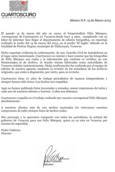 Carta de la agencia Cuartoscuro