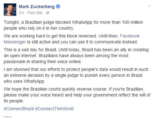 Postagem de Mark Zuckerberg no Facebook