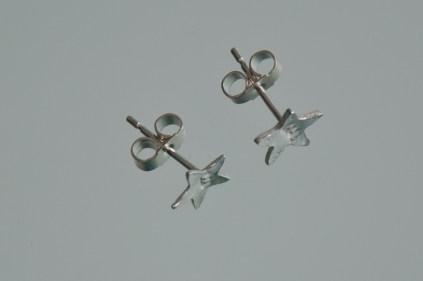 silver initials earrings