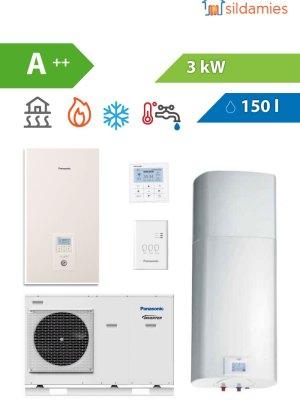 KOMPLEKTS: Panasonic 3 kW siltumsūknis + 150 litru karstā ūdens boileris