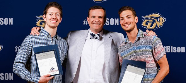 CoSIDA Academic All-America honorees Trey Gordon, Assistant Athletic Director for Communications Sam Atkinson, Todd Bonheyo