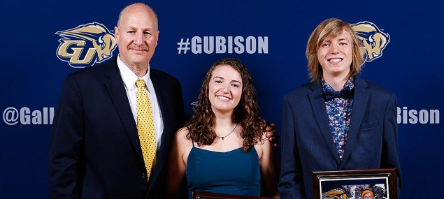 Student-Athlete of the Year award winners. Pictured left to right is Athletic Director Michael Weinstock, TraciAnn Hoglind and Otto Kingstedt
