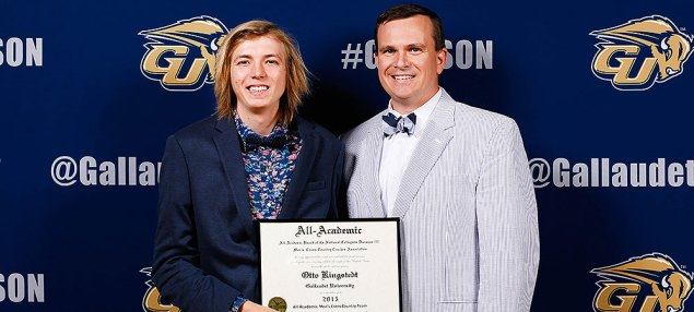 USTFCCCA All-Academic Award Honoree Otto Kingstedt with Assistant Athletic Director for Communications Sam Atkinson