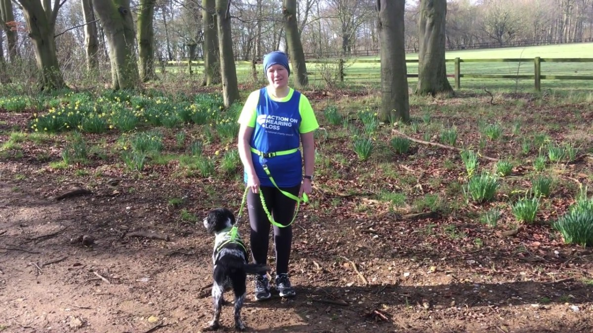 Heather Ewence is trianing for London Marathon for Action on Hearing Loss with her trusty dog