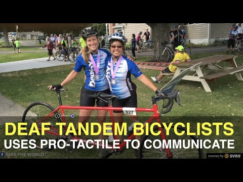 Deaf Tandem Bicyclists Arlene and Rhonda Uses Pro-tactile to Communicate