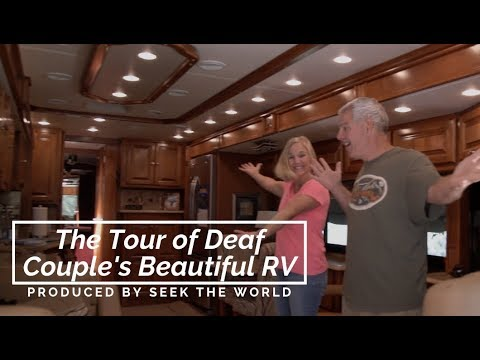 The Tour of Deaf Couple's Beautiful RV – Television, Bathroom, Living Room, Laundry, Goes on!!