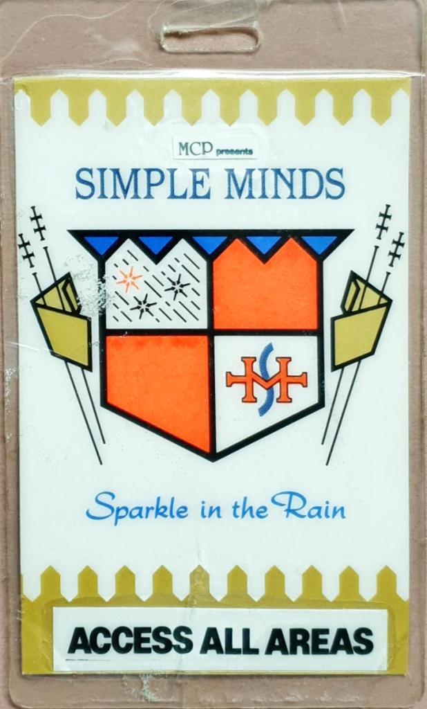 Simple Minds tour backstage pass