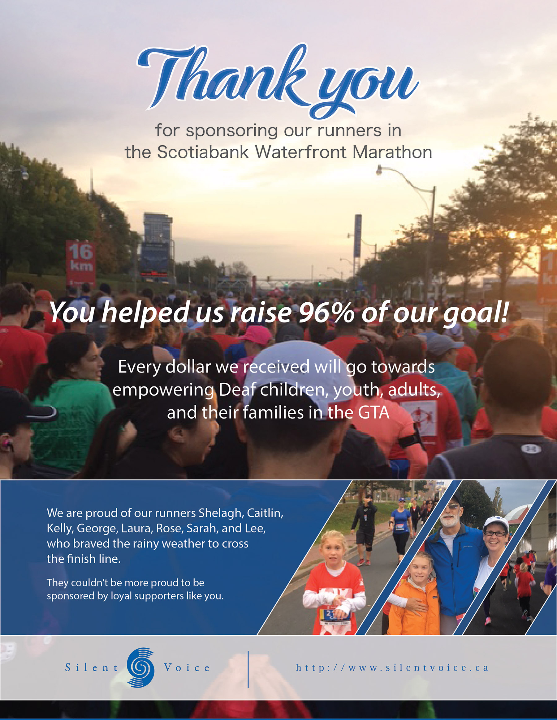 Thank You for sponsoring our runners in the Scotiabank Waterfront Marathon