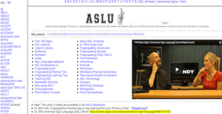 lists of words and a man showing the ASL signs