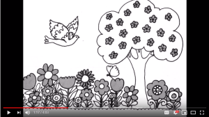 An illustration of a spring day including a bird, tree, and flowers.