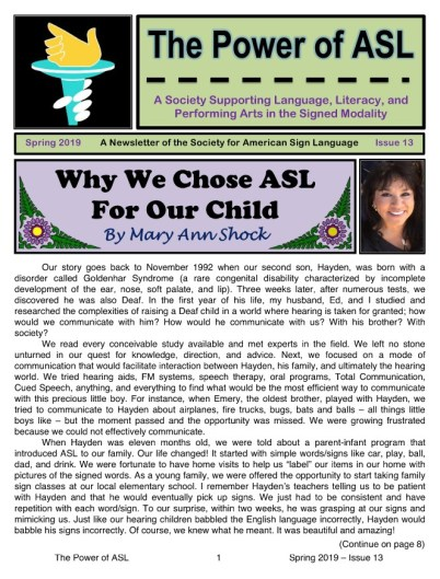 Society for American Sign Language Spring 2019 Newsletter - cover